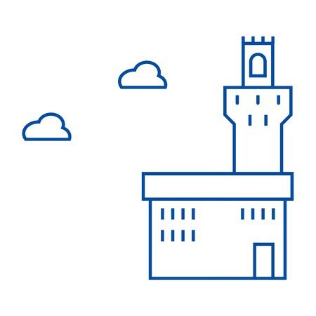 Palazzo vecchio line concept icon. Palazzo vecchio flat  vector website sign, outline symbol, illustration.