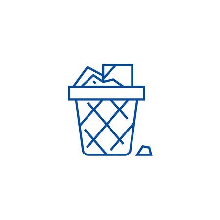 Paper bin,office garbage line concept icon. Paper bin,office garbage flat  vector website sign, outline symbol, illustration. Ilustração