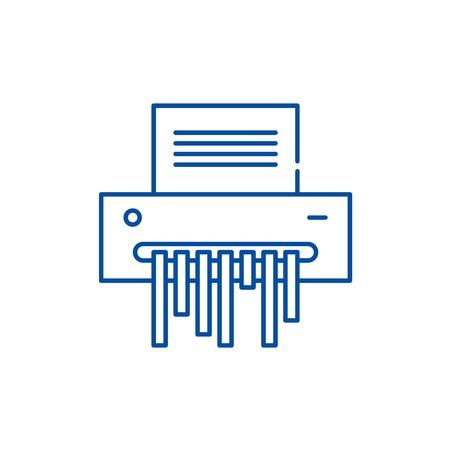 Paper shredder line concept icon. Paper shredder flat  vector website sign, outline symbol, illustration.