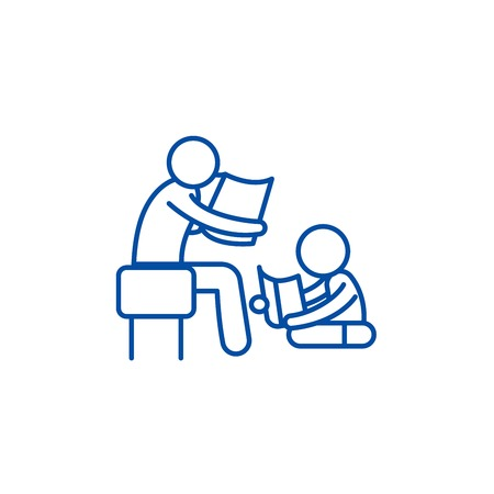 Parent reading a story to a child line concept icon. Parent reading a story to a child flat  vector website sign, outline symbol, illustration. Illustration