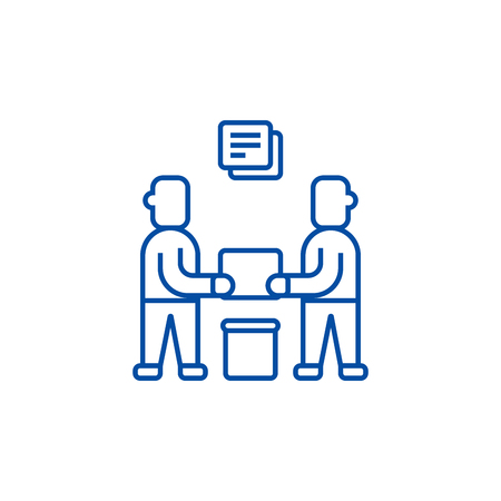 Partnership,contract signing line concept icon. Partnership,contract signing flat  vector website sign, outline symbol, illustration. Иллюстрация