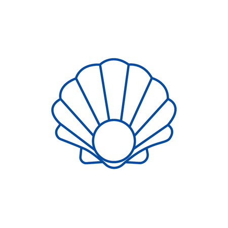 Pearl shell line concept icon. Pearl shell flat  vector website sign, outline symbol, illustration.
