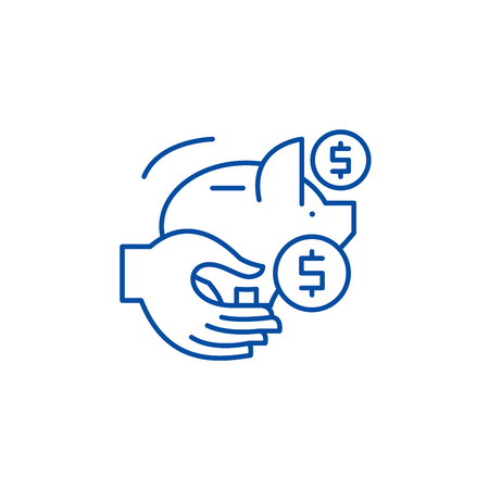 Passive savings line concept icon. Passive savings flat  vector website sign, outline symbol, illustration.