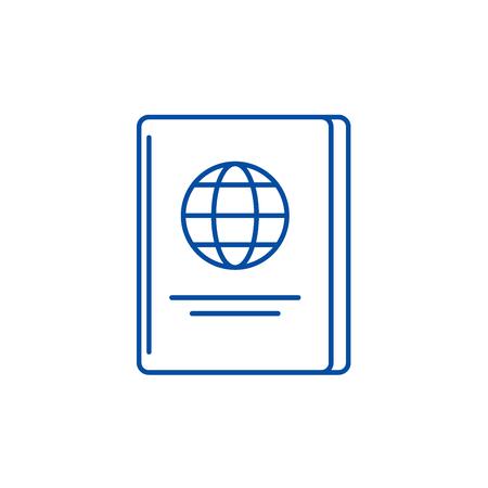 Icono de concepto de línea de pasaporte. Pasaporte sitio web vector plano signo, símbolo de contorno, Ilustración.