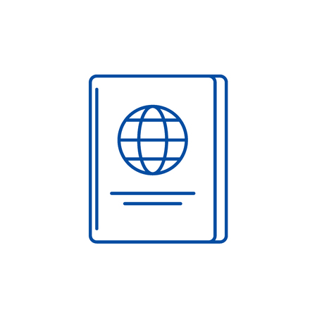 Passport line concept icon. Passport flat vector website sign, outline symbol, illustration.