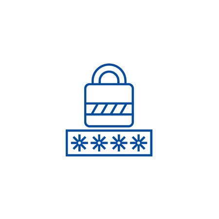 Password,login lock line concept icon. Password,login lock flat  vector website sign, outline symbol, illustration.