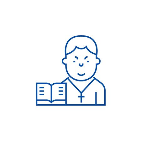 Pastor line concept icon. Pastor flat  vector website sign, outline symbol, illustration. Foto de archivo - 119985676