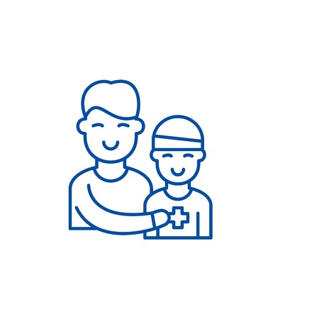 Patient therapy line concept icon. Patient therapy flat  vector website sign, outline symbol, illustration.