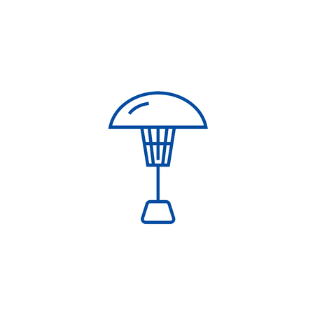 Patio heater line concept icon. Patio heater flat  vector website sign, outline symbol, illustration.