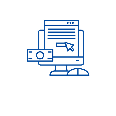 Pay per click line concept icon. Pay per click flat vector website sign, outline symbol, illustration.