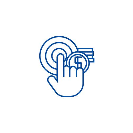 Pay per click, online marketing line concept icon. Pay per click, online marketing flat  vector website sign, outline symbol, illustration.