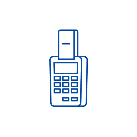 Payment by terminal line concept icon. Payment by terminal flat  vector website sign, outline symbol, illustration. Illustration