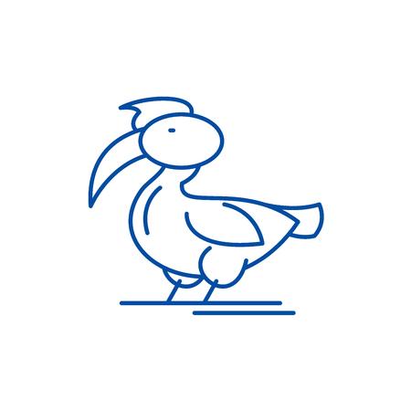 Pelican line concept icon. Pelican flat  vector website sign, outline symbol, illustration. Illustration