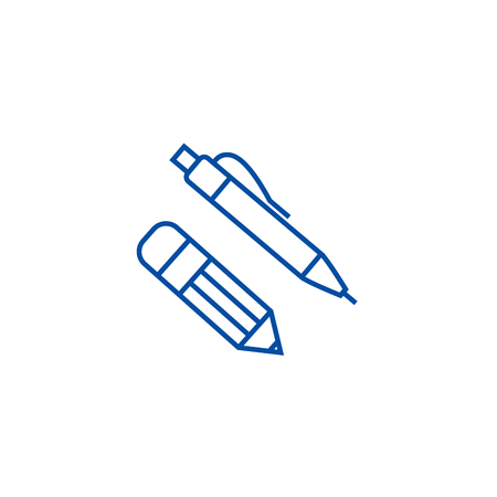 Pen and pencil line concept icon. Pen and pencil flat  vector website sign, outline symbol, illustration.