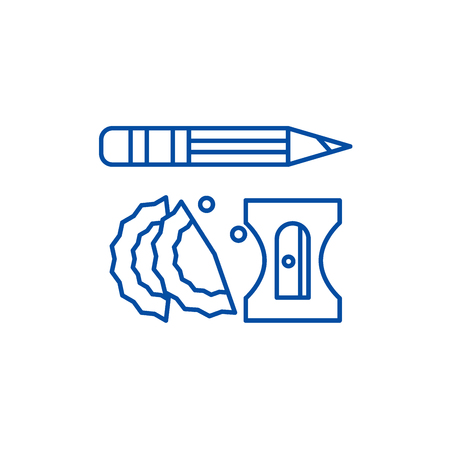 Pencil and sharpener line concept icon. Pencil and sharpener flat  vector website sign, outline symbol, illustration. 写真素材 - 120117484