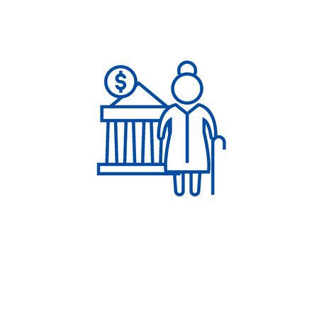 Pension contributions line concept icon. Pension contributions flat  vector website sign, outline symbol, illustration. Illustration