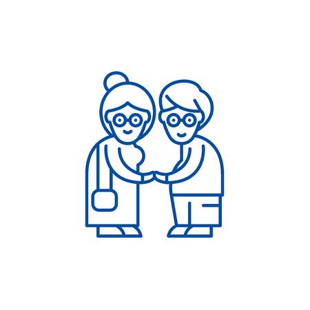 Pensioners line concept icon. Pensioners flat vector website sign, outline symbol, illustration.