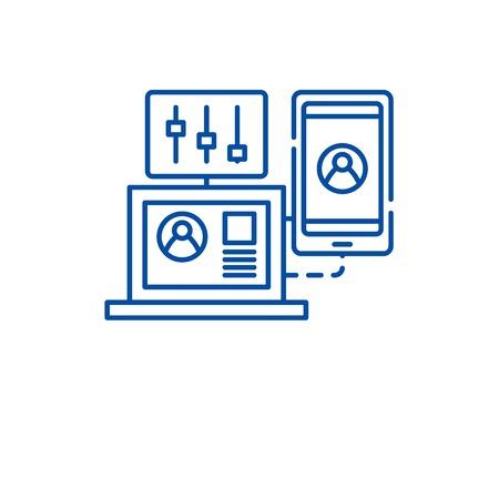 Performance management line concept icon. Performance management flat  vector website sign, outline symbol, illustration.
