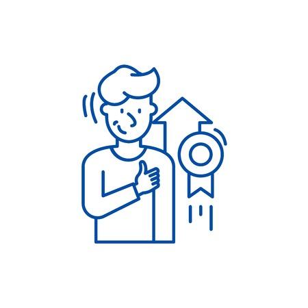 Icône de concept de ligne de réussite personnelle. Signe de site Web vectoriel plat de réalisation personnelle, symbole du contour, illustration.