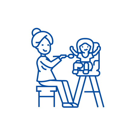 Mother feeding child line concept icon. Mother feeding child flat  vector website sign, outline symbol, illustration.