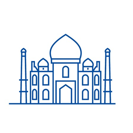 Mosque, islam line concept icon. Mosque, islam flat  vector website sign, outline symbol, illustration. Illustration