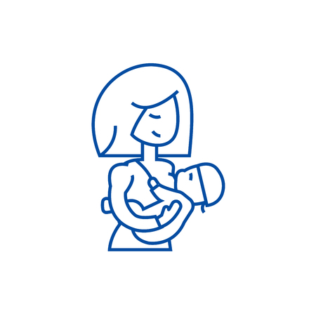 Mother breastfeeding baby line concept icon. Mother breastfeeding baby flat  vector website sign, outline symbol, illustration.