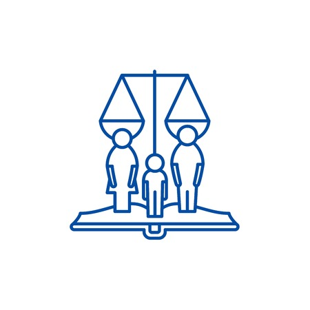 Family rights line concept icon. Family rights flat  vector website sign, outline symbol, illustration.
