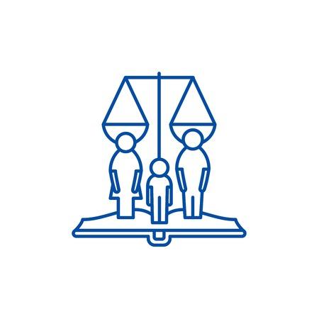 Icône de concept de ligne de droits familiaux. Signe de site Web de vecteur plat de droits de famille, symbole de contour, illustration.
