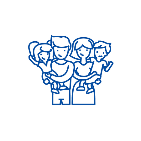 Family,happy parents and children  line concept icon. Family,happy parents and children  flat  vector website sign, outline symbol, illustration. Illustration
