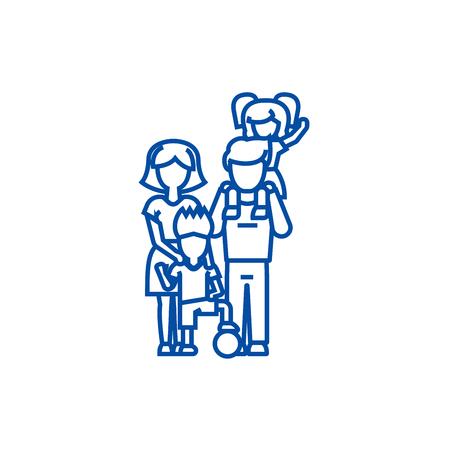 Family,on fathers shoulders, mother  line concept icon. Family,on fathers shoulders, mother  flat  vector website sign, outline symbol, illustration. Illustration