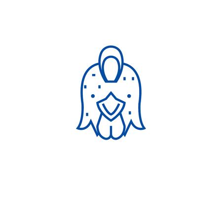 Farm chicken, hen line concept icon. Farm chicken, hen flat  vector website sign, outline symbol, illustration.