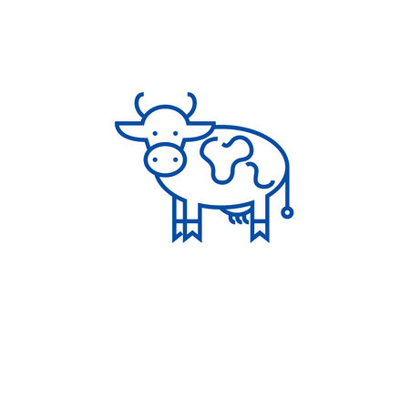 Farm cow line concept icon. Farm cow flat  vector website sign, outline symbol, illustration.
