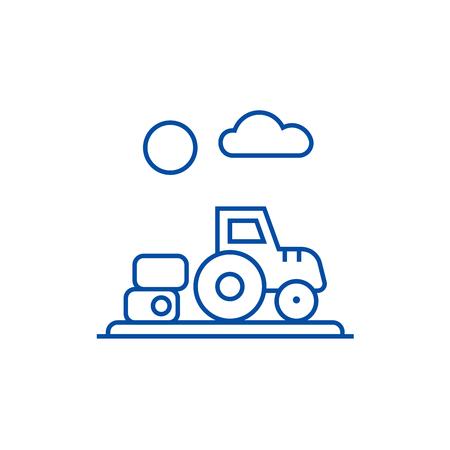 Farm harvest,tractor line concept icon. Farm harvest,tractor flat  vector website sign, outline symbol, illustration.