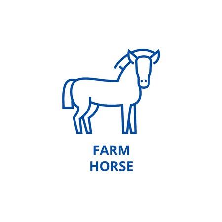 Farm horse line concept icon. Farm horse flat  vector website sign, outline symbol, illustration. Stock Vector - 119985807
