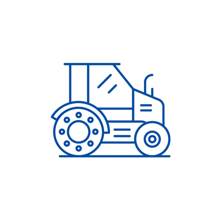 Farm tractor line concept icon. Farm tractor flat  vector website sign, outline symbol, illustration.