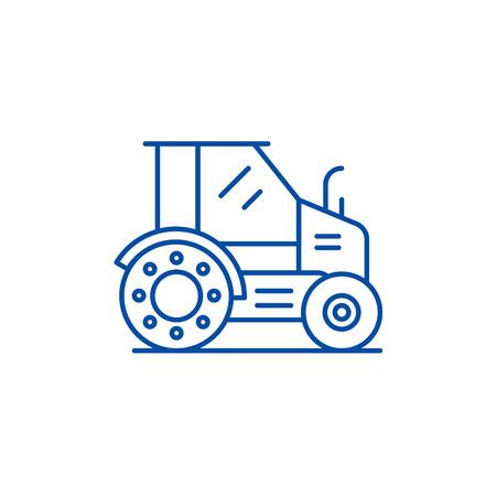 Farm tractor line concept icon. Farm tractor flat  vector website sign, outline symbol, illustration.