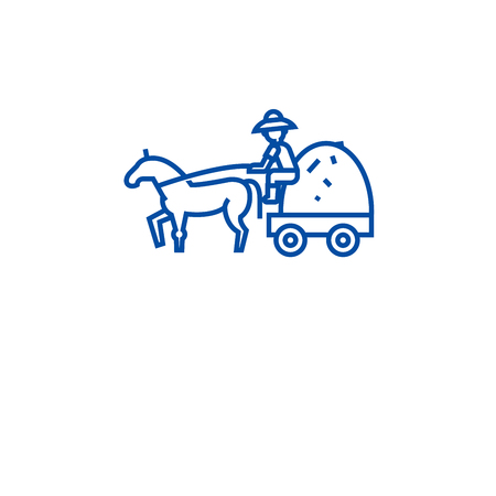 Farm wagon with straw line concept icon. Farm wagon with straw flat  vector website sign, outline symbol, illustration.