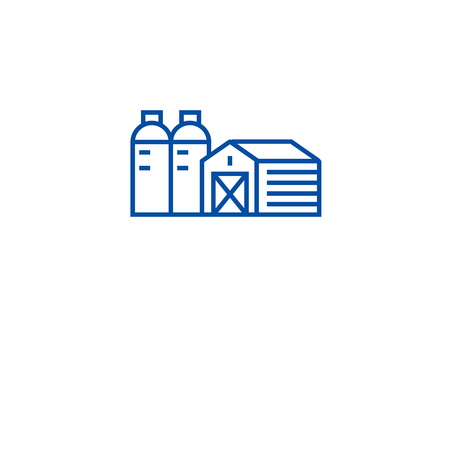 Farm, barn, silo line concept icon. Farm, barn, silo flat  vector website sign, outline symbol, illustration. Фото со стока - 119985812