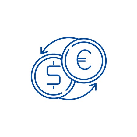 Fast currency exchange line concept icon. Fast currency exchange flat  vector website sign, outline symbol, illustration. Illustration