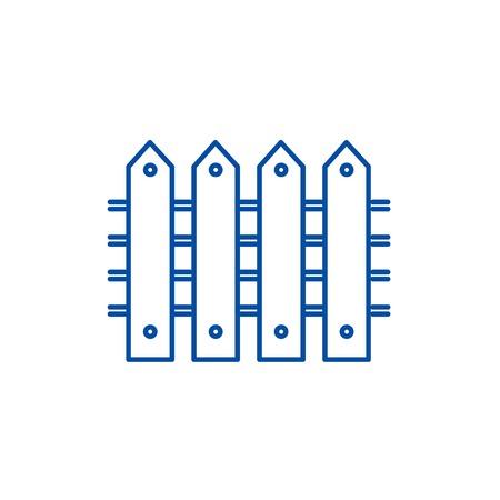 Fence line concept icon. Fence flat  vector website sign, outline symbol, illustration. Standard-Bild - 120057319