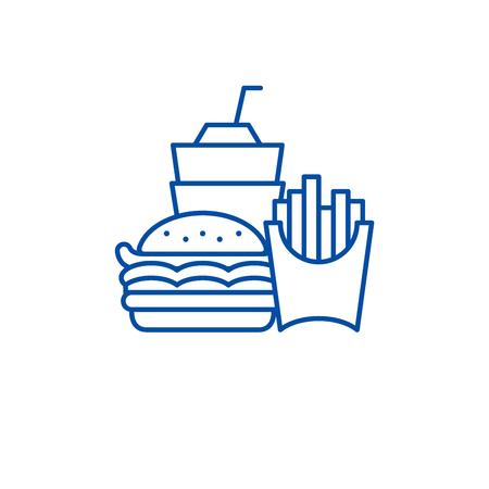 Fast food business line concept icon. Fast food business flat  vector website sign, outline symbol, illustration. Illustration