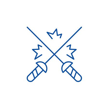 Fencing line concept icon. Fencing flat  vector website sign, outline symbol, illustration.