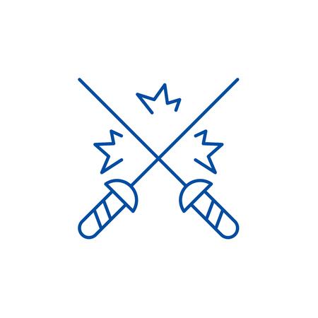 Fencing line concept icon. Fencing flat  vector website sign, outline symbol, illustration.