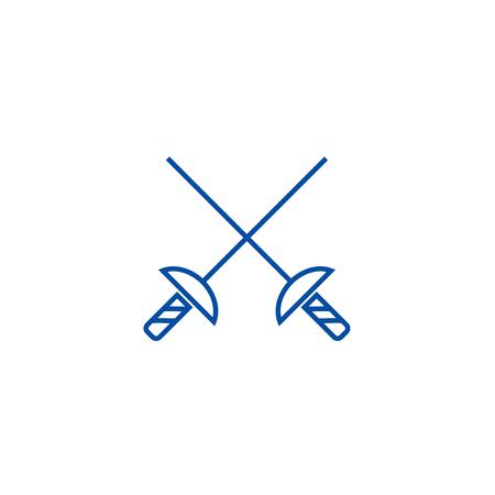 Fencing swords line concept icon. Fencing swords flat  vector website sign, outline symbol, illustration.