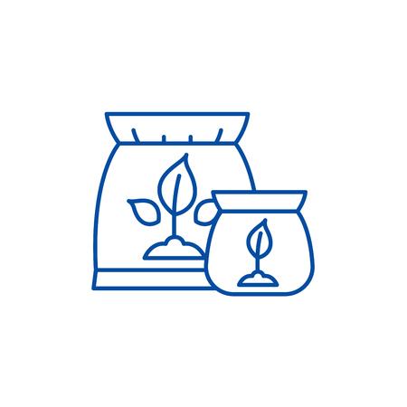 Fertilizer line concept icon. Fertilizer flat  vector website sign, outline symbol, illustration. Ilustração