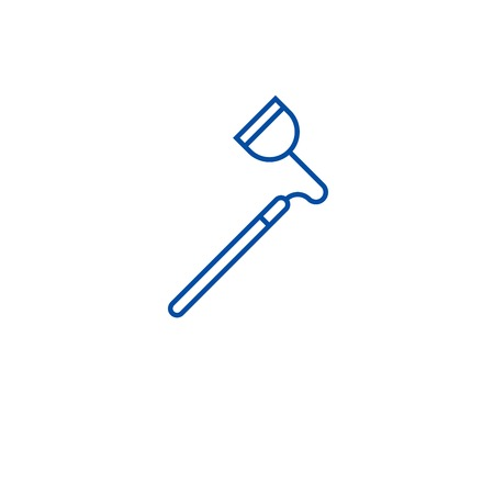 Farming hoe line concept icon. Farming hoe flat  vector website sign, outline symbol, illustration. Çizim