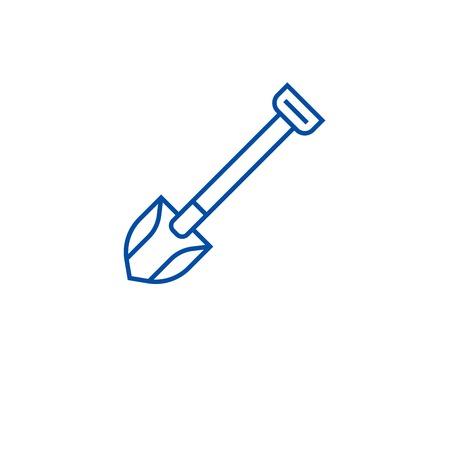 Farming shovel line concept icon. Farming shovel flat  vector website sign, outline symbol, illustration. Ilustração