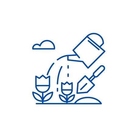 Farmland line concept icon. Farmland flat  vector website sign, outline symbol, illustration.