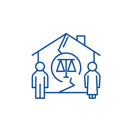 Family divorce line concept icon. Family divorce flat  vector website sign, outline symbol, illustration. Illustration