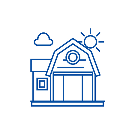 Farm building line concept icon. Farm building flat  vector website sign, outline symbol, illustration.